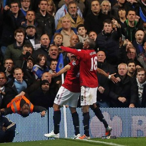 In the blue corner: Javier Hernandez celebrated his goal in front of the Chelsea fans