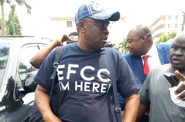 Alleged corruption: 'I'm here' — Fayose storms EFCC office with bags of clothes