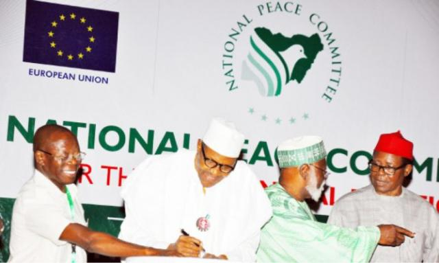 2019: Buhari, other presidential candidates sign peace accord in Abuja