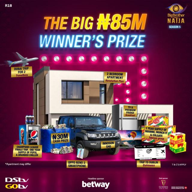 BBNaija 2020 winner to get N85m grand prize – highest since 2006