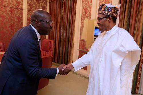 Obaseki visits Buhari after second term victory, rules out return to APC