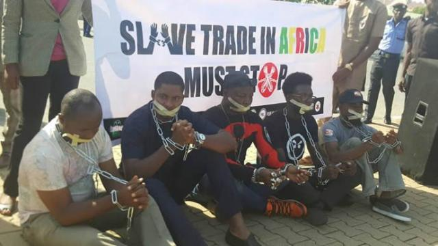 Charly Boy's group protests Libyan slave trade in chains... told 3000 Nigerians repatriated/